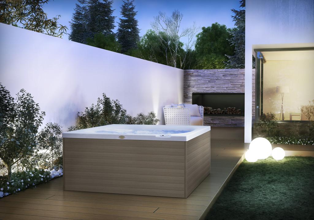 Italian Design City Spa – basen dla dwóch osób z jednym miejscem leżącym, wymiary 160 x 150 x 75 cm. Wolnostojący lub do zabudowy, niewielkie obciążenie na strop.