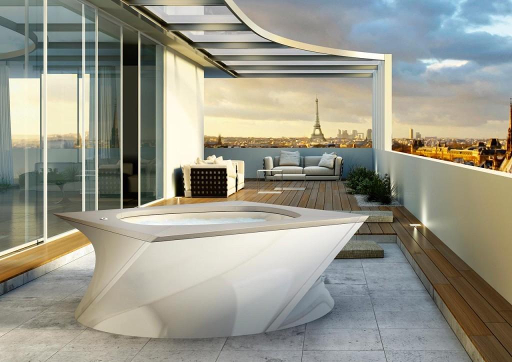 Italian Design Flow – 2-osobowy basen z jednym miejscem leżącym, oryginalny kształt, wymiary 200 x 200 (Ø 224) x 80 cm