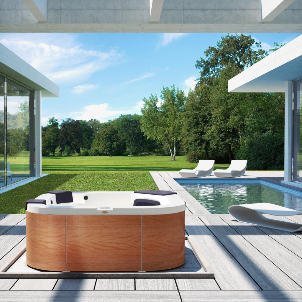 Italian Design Santorini Pro – basen ogrodowy dla 5-6 osób, dwa miejsca leżące, wolnostojący lub do zabudowy, wymiary 230 x 215 x 90 cm