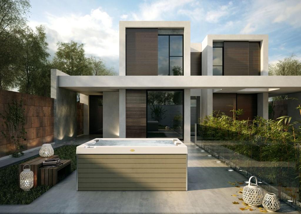 Italian Design Unique - wolnostojący mini-basen dla 3 osób, 1 leżanka, wymiary 190 x 150 x 80 cm